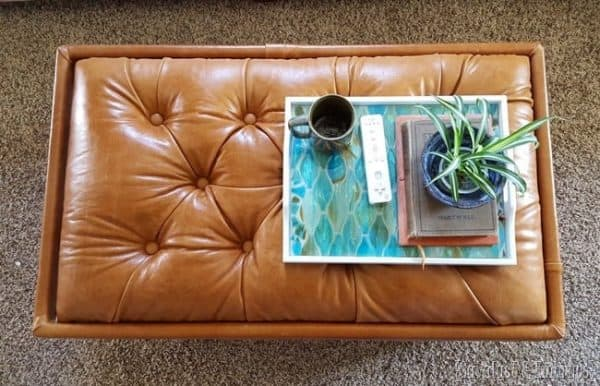 tufted storage ottoman - DIY leather projects