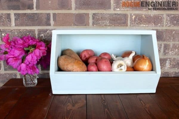 DIY wooden box with root vegetables