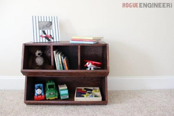 DIY wooden boxes filled with toys