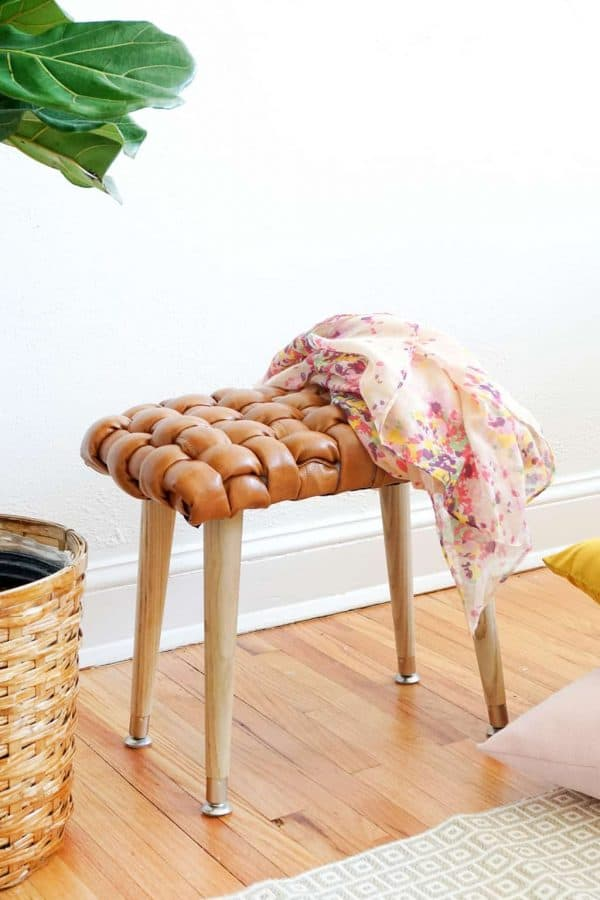 woven leather stool - DIY leather projects