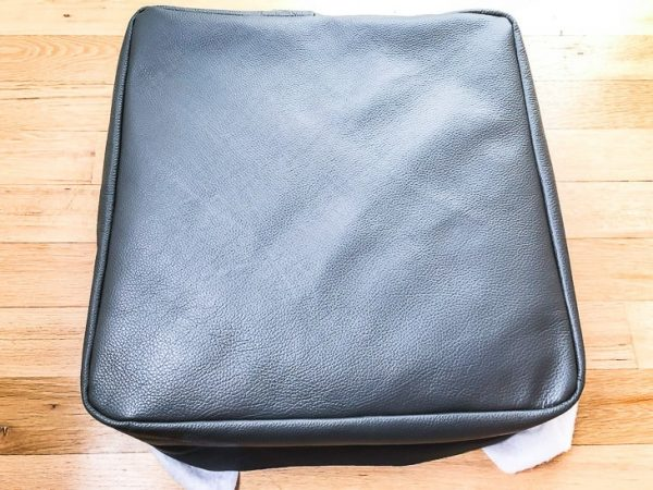 DIY ottoman cover on cushion