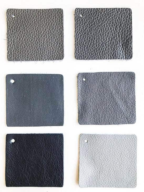 six gray leather samples