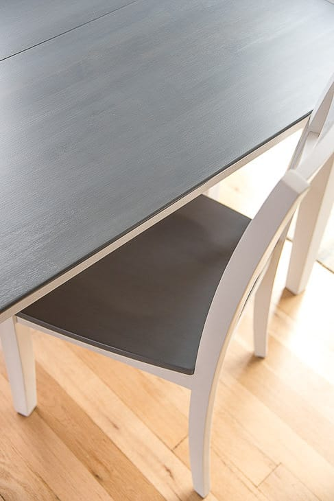 grey wood stain projects - grey and white table and chair