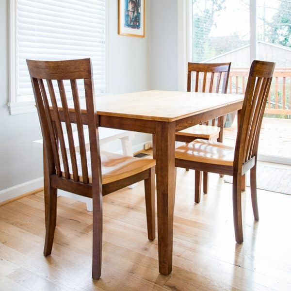 Dining Table Set With Two Toned Wood Stain