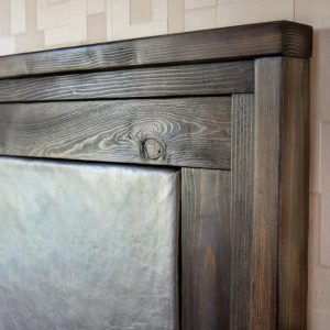 upholstered leather headboard with wood frame