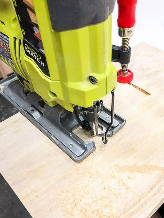 jigsaw cutting notches in plywood