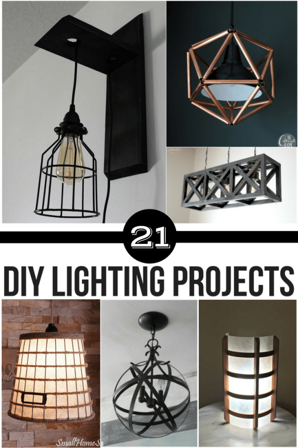 collage of DIY lighting projects