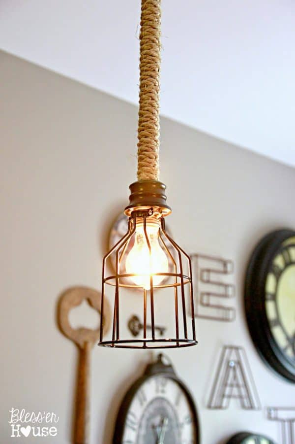 DIY lighting - industrial rope pendant light