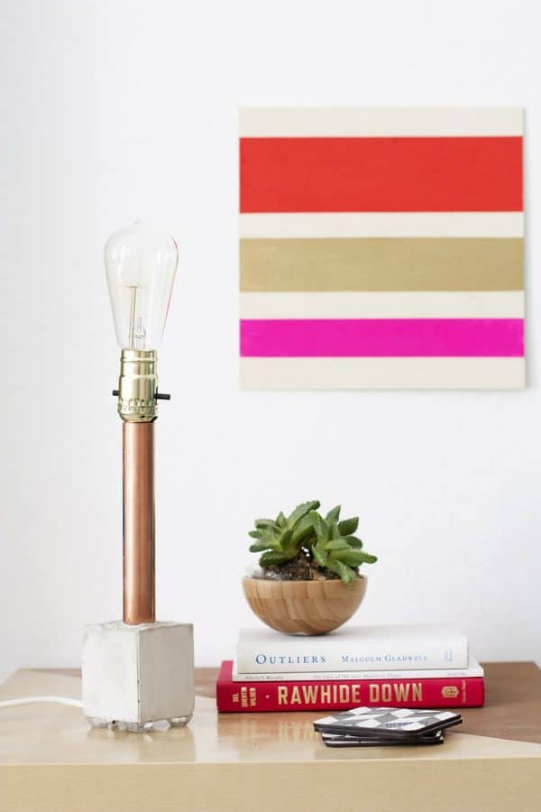 copper and concrete DIY lamp