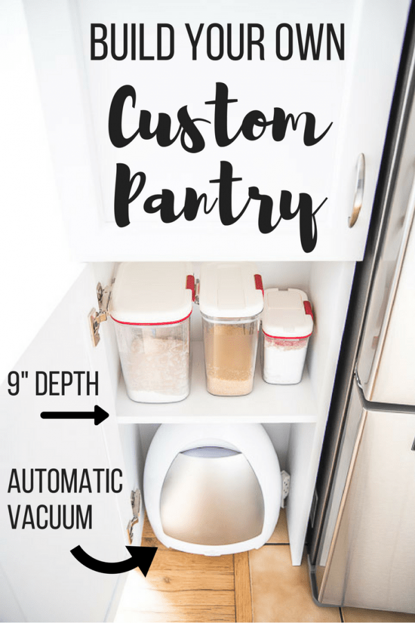 how to build a pantry - open pantry door with organized supplies and automatic vacuum inside