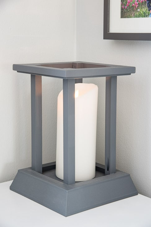 gray DIY candle lantern with white Luminara flameless candle