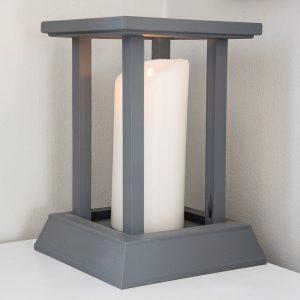 pillar candle inside DIY candle lantern
