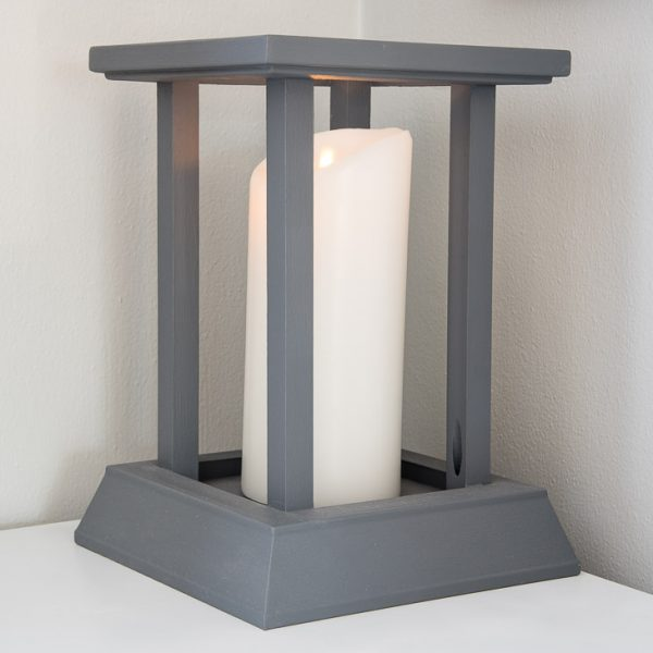 pillar candle inside DIY candle lantern