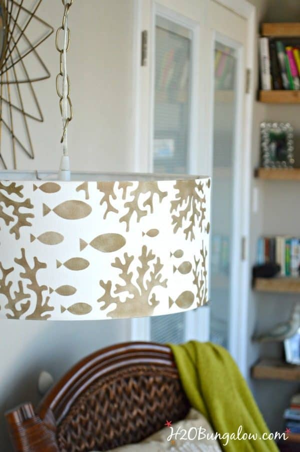 stenciled lampshade DIY lighting