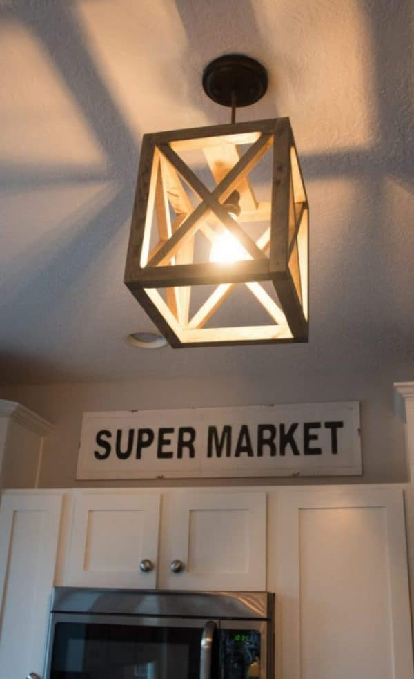 DIY lighting - x wood pendant light
