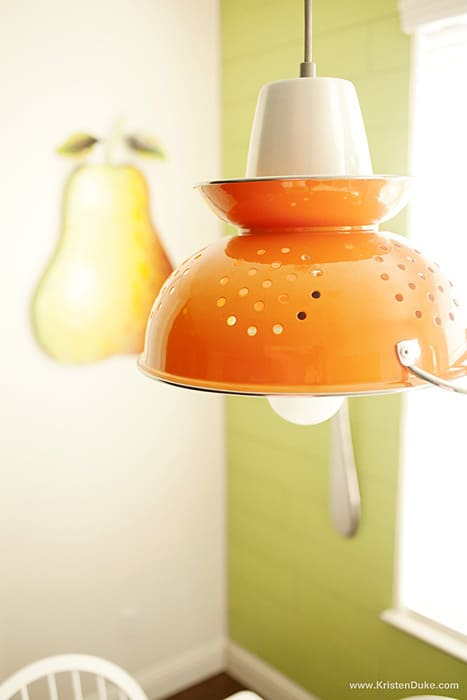 colander DIY lighting