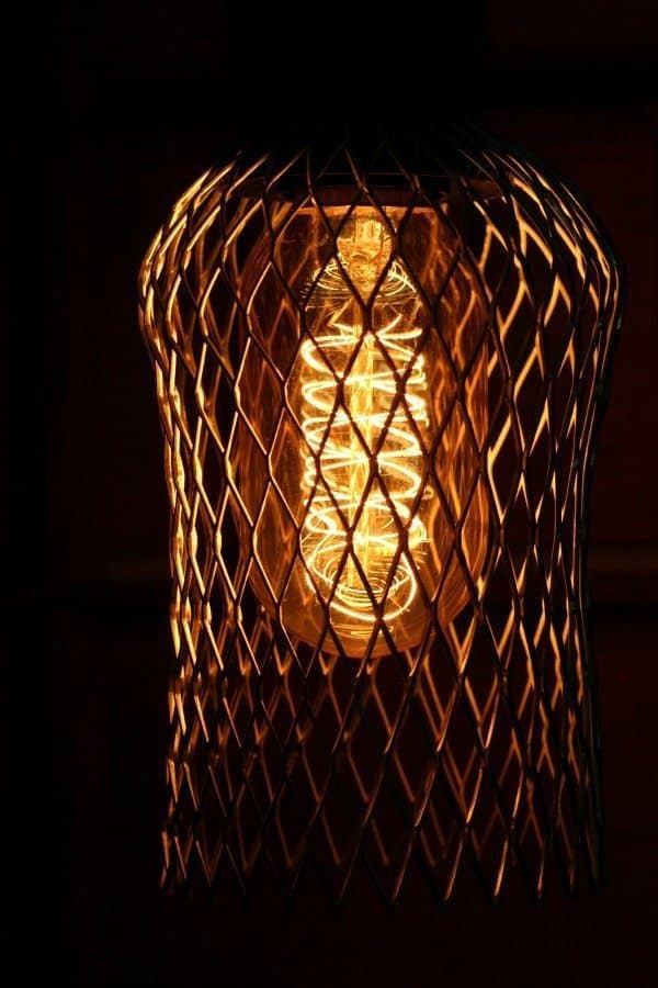 DIY lighting - industrial cage pendant light