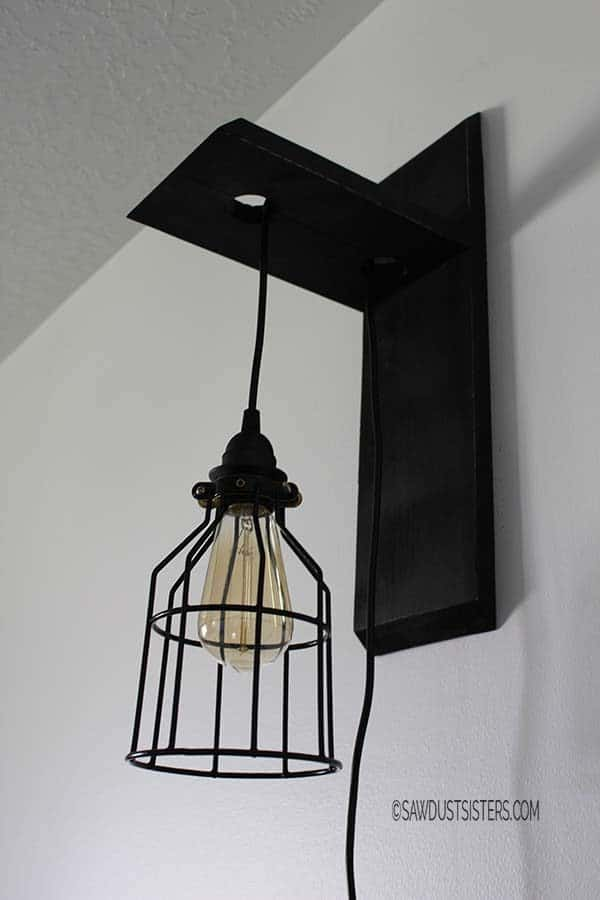 DIY wall sconce with cage light