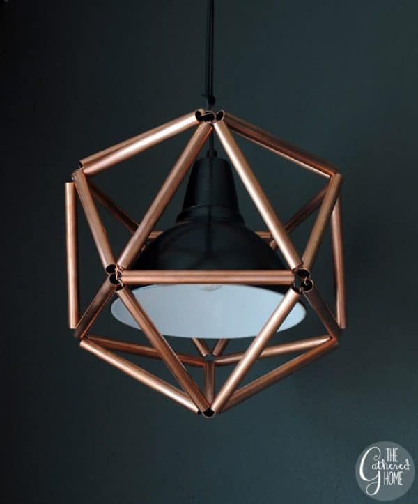 DIY pendant light made from copper pipe