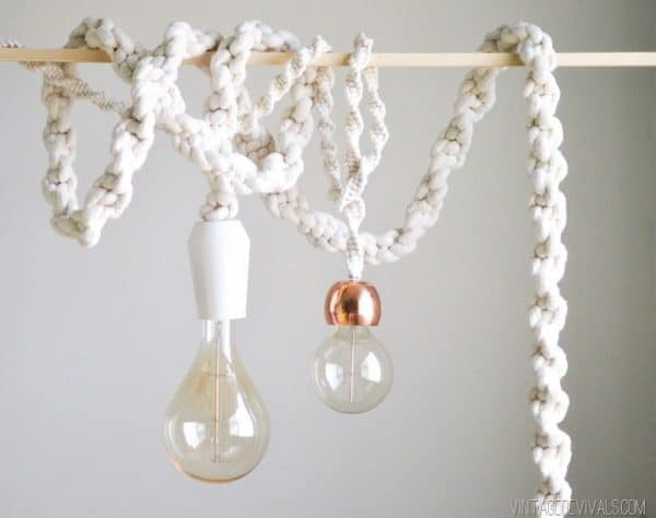 DIY lighting - giant macrame rope pendant lights