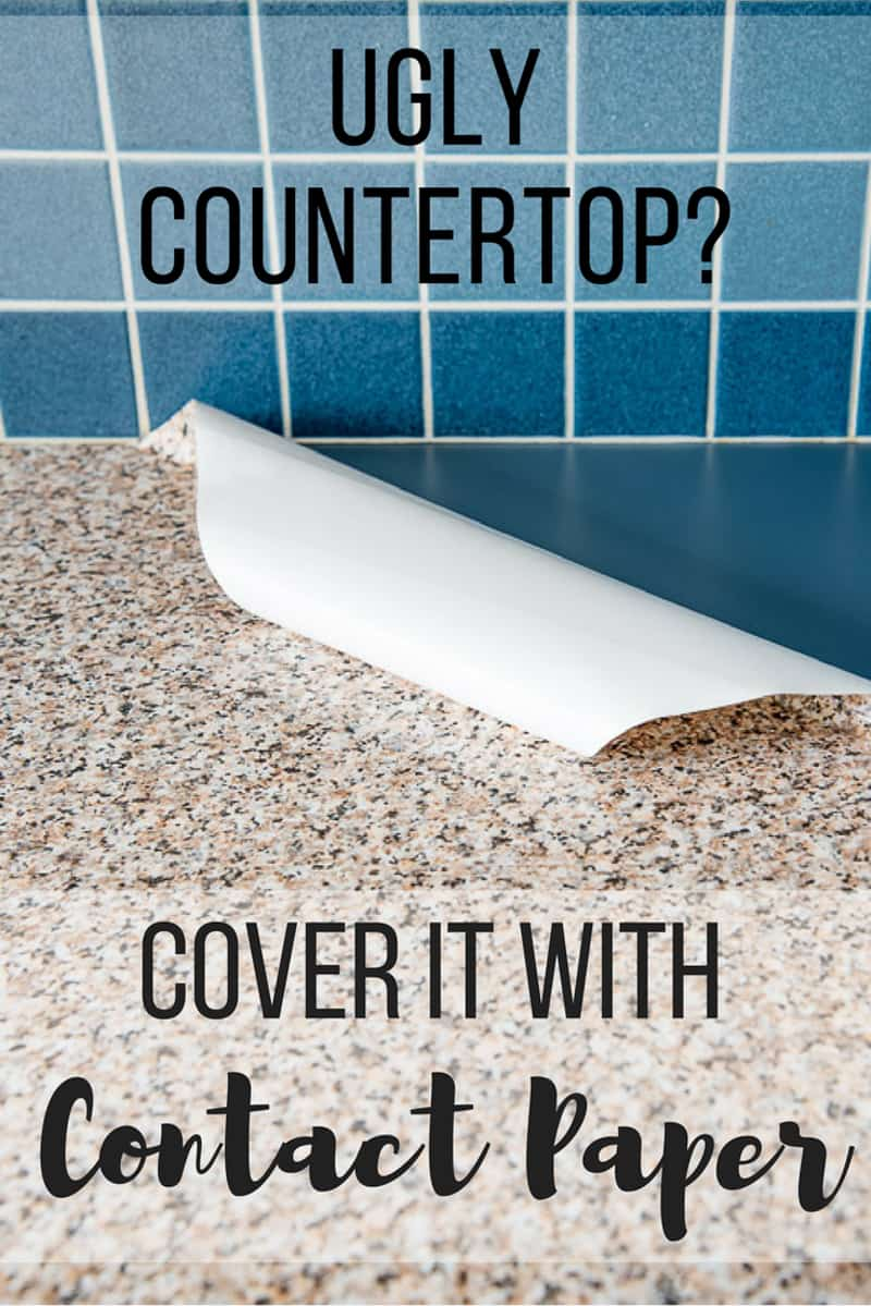 Contact Paper Kitchen Counter With Text Overlay Reading Ugly Countertop Cover It