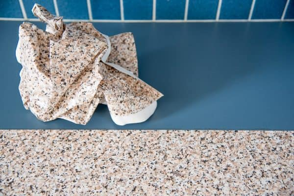 contact paper kitchen counter with half peeled away to show no residue