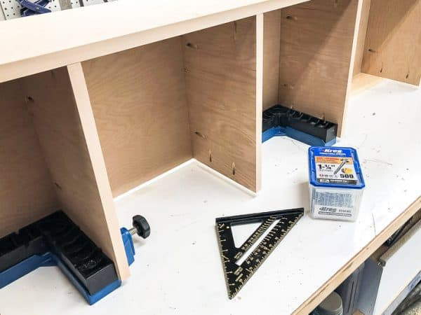 how to build a pantry - side panels being installed