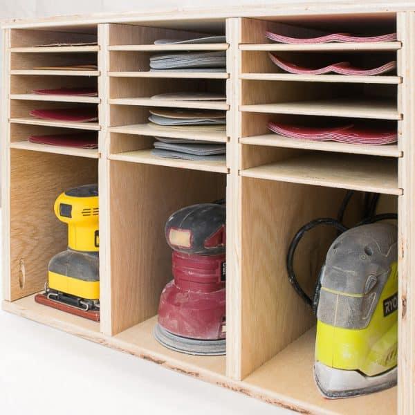 sander and sandpaper storage