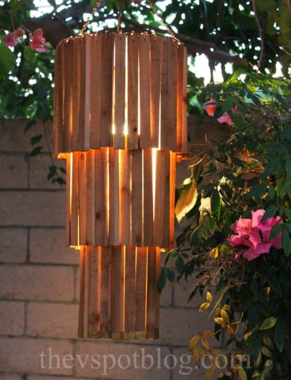 rustic outdoor DIY chandelier