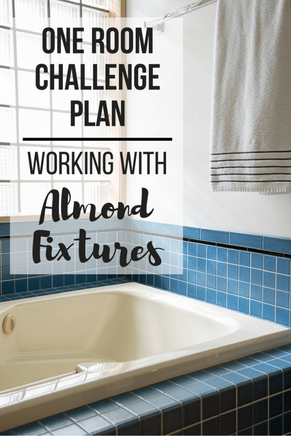 "almond bathtub with text overlay ""One Room Challenge Plan - Working with Almond Fixtures"""