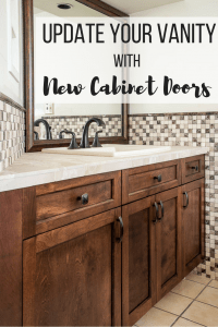 """bathroom vanity with dark brown cabinet doors, limestone countertop and stone mosaic backsplash with text overlay reading """"Update Your Vanity with New Cabinet Doors"""""""