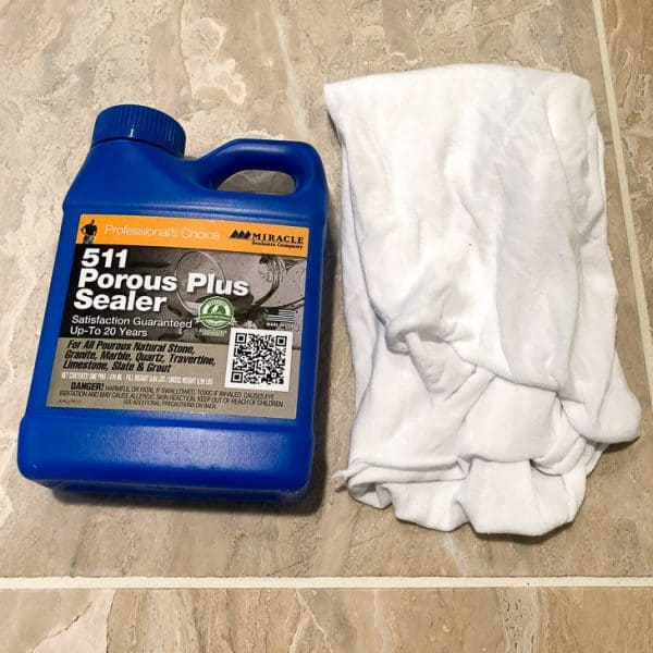 limestone tile sealer with rag