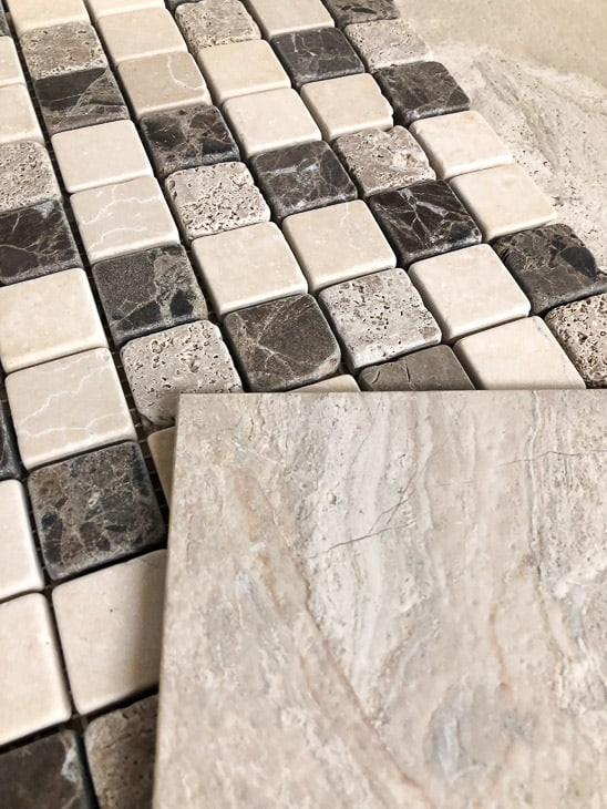 limestone tile and mosaic tile