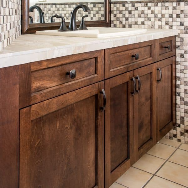 bathroom vanity with new cabinet doors stained with General Finishes Java gel stain & Update Your Bathroom Vanity with New Cabinet Doors - The Handymanu0027s ...