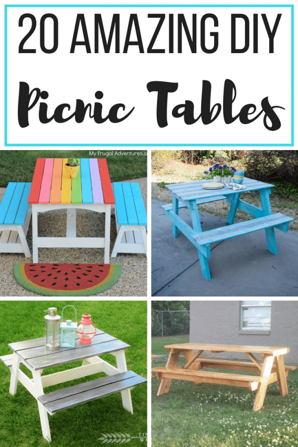 Collage Of Four DIY Picnic Tables
