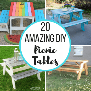 "collage of DIY picnic tables with circle in center reading ""20 Amazing DIY Picnic Tables"""