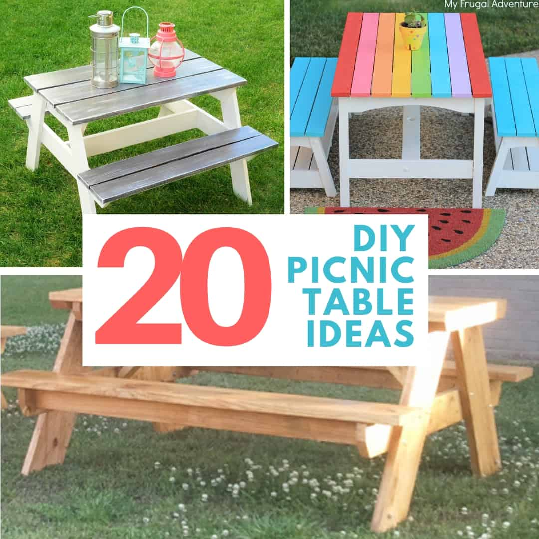 20 DIY Picnic Table Ideas collage