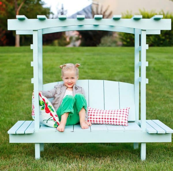 kids DIY arbor with bench