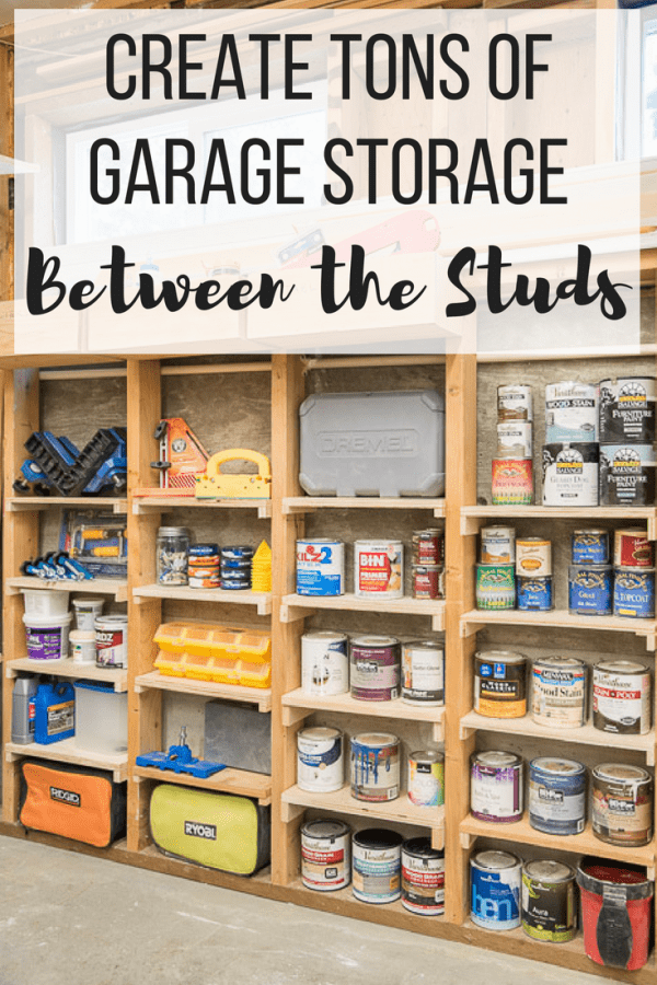 "between the studs shelves with text overlay reading ""Create Tons of Garage Storage Between the Studs"""