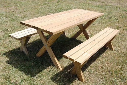 DIY picnic table with X legs and separate benches