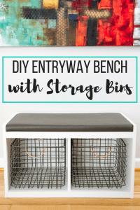 DIY entryway bench with storage bins