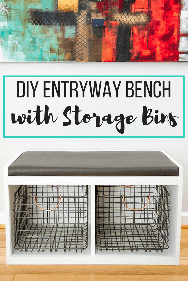 DIY entryway bench with storage bins