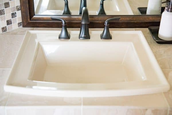 almond sink in DIY bathroom renovation