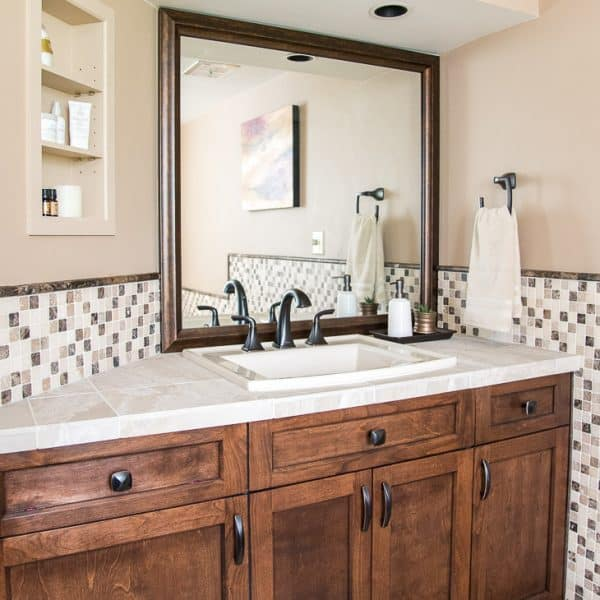 Custom Framed Mirror Over Bathroom Vanity