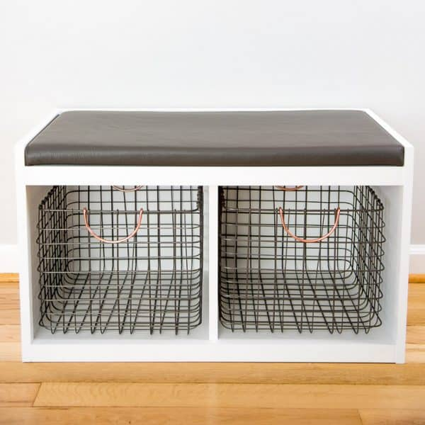modern DIY entryway bench with industrial metal baskets