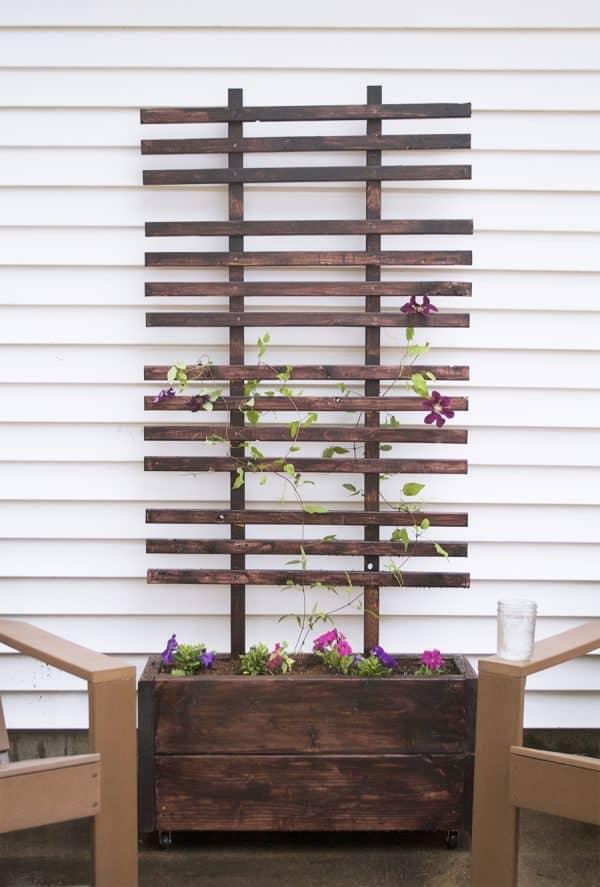 DIY trellis with planter box