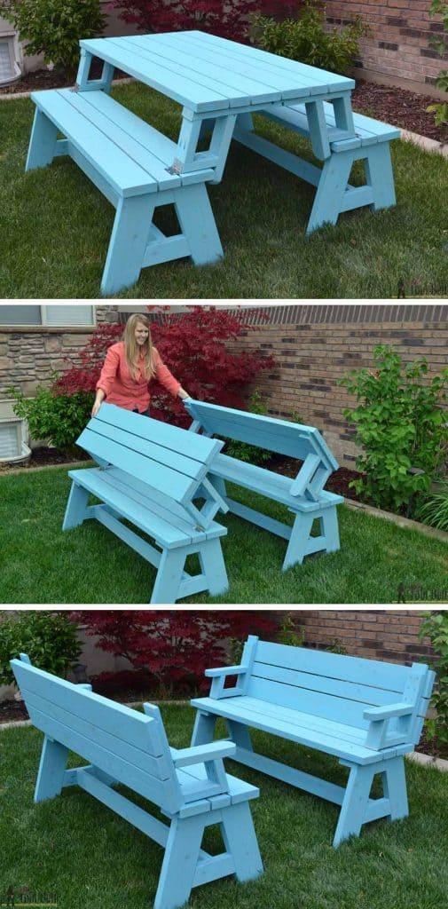 convertible DIY picnic table