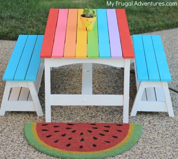 DIY kids rainbow picnic table