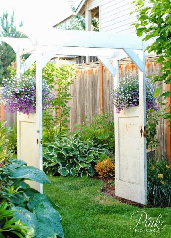garden arbor made from old doors