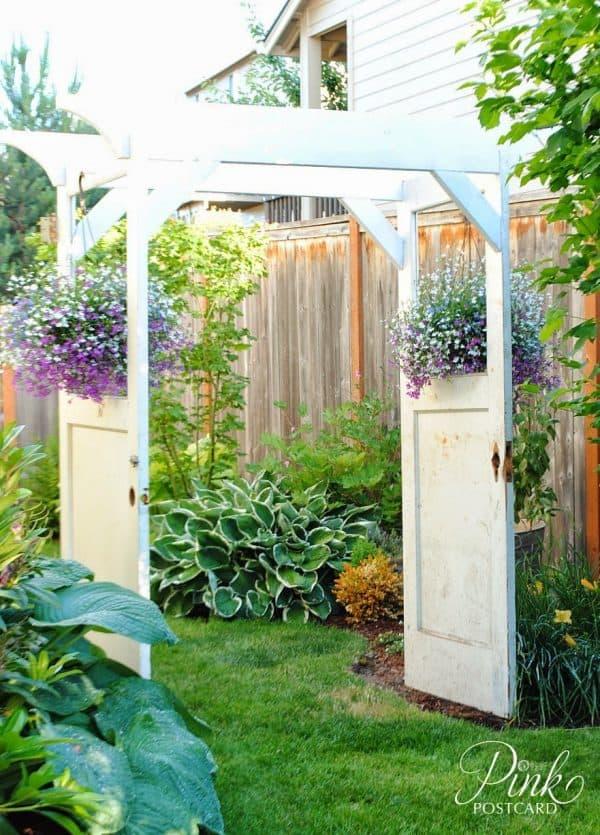 garden arbor made from old doors